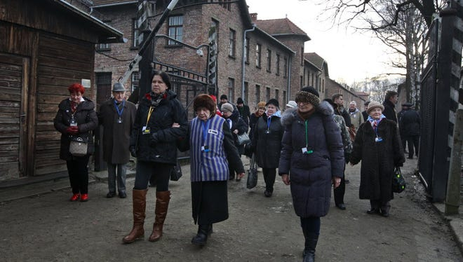 Holocaust survivors at Auschwitz in Oswiecim, Poland, on Jan. 27, 2016.