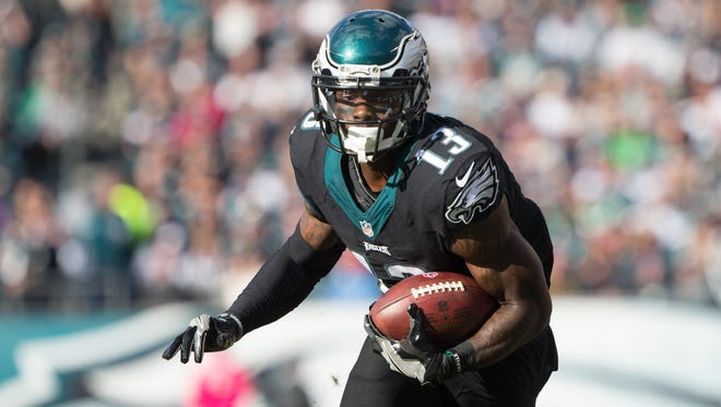 Oct 23, 2016; Philadelphia, PA, USA; Philadelphia Eagles wide receiver Josh Huff (13) runs with the ball after a pass reception against the Minnesota Vikings during the second half at Lincoln Financial Field. The Philadelphia Eagles won 21-10. Mandatory Credit: Bill Streicher-USA TODAY Sports