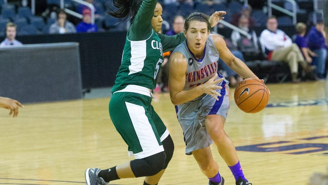 UE's Sara Dickey (24) drives the ball passed Cleveland State's Khayla Livingston (55) in the second quarter at Ford Center in Evansville, Ind. Saturday afternoon, Nov. 12, 2016.