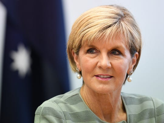 Australian Minister for Foreign Affairs Julie Bishop is shown in a file photo taken at a bilateral meeting with Croatian officials at Parliament House in Canberra Aug. 16, 2017.