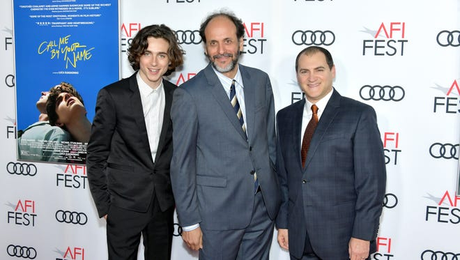 """Timothee Chalamet, Luca Guadagnino, and Michael Stuhlbarg attend the screening of """"Call Me By Your Name"""" at AFI FEST 2017 (Photo by Neilson Barnard/Getty Images)"""