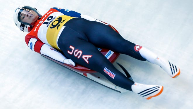 Glen Rock's Summer Britcher speeds down the track during the women's world luge championships race Saturday in Konigssee, Germany. Britcher was the top U.S. woman, placing a career-best seventh.