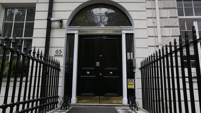 The entrance to the Southbank International School in central London where William James Vahey was a teacher from 2009-2013.