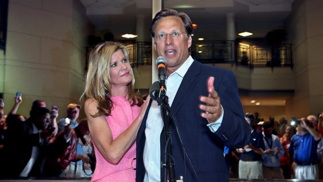 Dave Brat and wife Laura on Tuesday night in Henrico, Va.