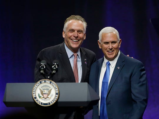 Virginia Democratic Gov. Terence McAuliffe introduced Vice President Mike Pence before he addressed the National Governors Association's summer meeting July 14, 2017, in Providence, R.I.