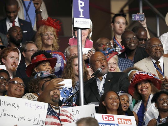 The Mississippi delegation votes during the second day of the Democratic National Convention in Philadelphia Tuesday, July 26, 2016.