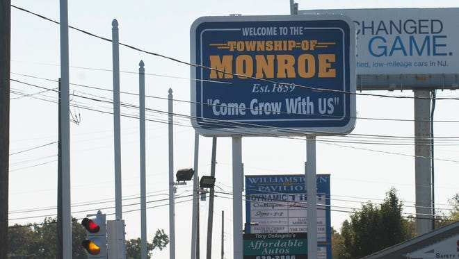 A Monroe Township sign is shown at the Back Horse Pike. Monroe Township has spent $27,000 to a marketing firm to brand the Williamstown section of town to businesses.