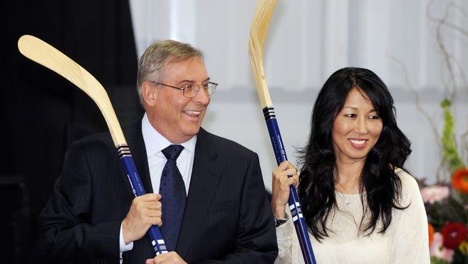 Buffalo Sabres owner Terry Pegula and his wife, Kim Pegula.