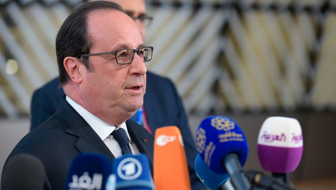 French President Francois Hollande gives a joint press conference during the EU leaders' summit on April 29, 2017. Hollande warned that Britain must pay the price for Brexit as EU leaders met to adopt guidelines for negotiations.