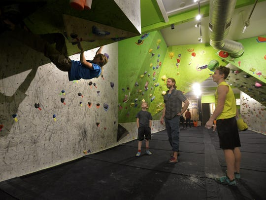 The Hi-Line Climbing Team practices at the Hi-Line Climbing Center on Thursday.
