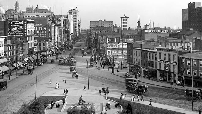 This 1912 photo of Market Street in Newark by William F. Cone is among a series on display at the Millburn Free Public Library through Oct. 30 as part of an exhibit by the Millburn Art Advisory Committee.