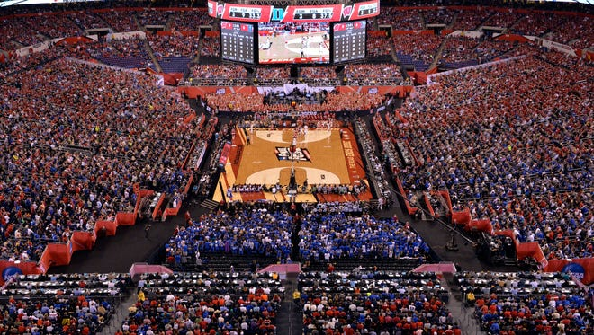 An overall view of the stadium during the game between the Duke Blue Devils and the Wisconsin Badgers in the 2015 NCAA Men's Division I Championship game at Lucas Oil Stadium in 2015.