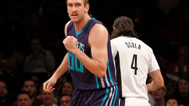 Nov 4, 2016; Brooklyn, NY, USA;  Charlotte Hornets forward Spencer Hawes (00) reacts in the fourth quarter against Brooklyn Nets at Barclays Center.  Hornets win 99-95.  Mandatory Credit: Nicole Sweet-USA TODAY Sports ORG XMIT: USATSI-323500 ORIG FILE ID:  20161104_jrs_ae2_112.jpg