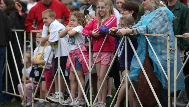 Spectators watch the Flying Pig.