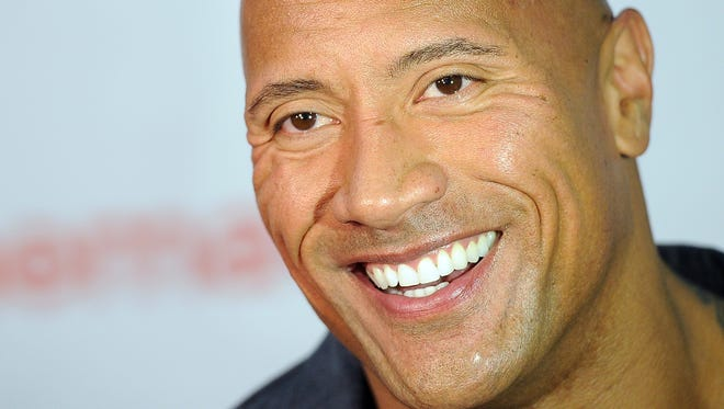"""Dwayne Johnson, star of the upcoming film """"Hercules,"""" is interviewed before the Opening Night Presentation from Paramount Pictures at CinemaCon 2014 on Monday, March 24, 2014, in Las Vegas."""