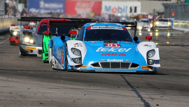 The #01 Ford Riley of Scott Pruett, Memo Rojas and Marino Franchitti is shown in action during the 12 Hours of Sebring at Sebring International Raceway on March 15, 2014 in Sebring, Florida.