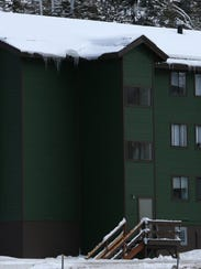 A snow laden rooftop is seen on a building at Kirkwood