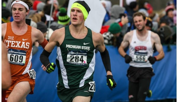 Algonac High School graduate Morgan Beadlescomb competes for Michigan State University during his first cross country season.