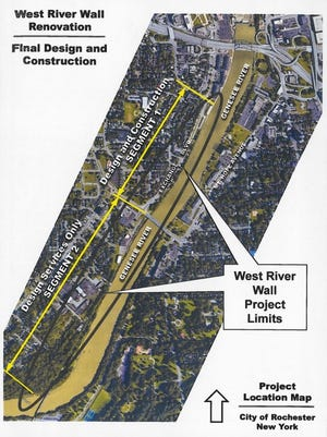 Design and reconstruction is being planned for a section of the West River Wall approaching downtown Rochester.