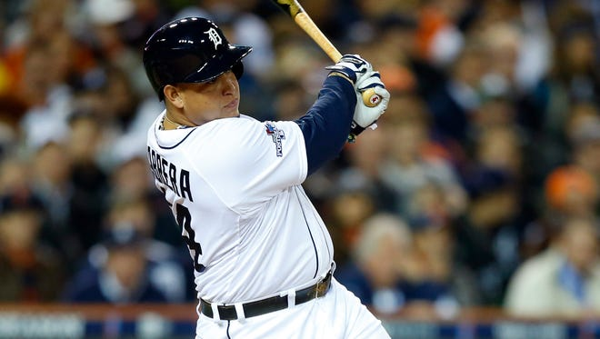 The Tigers' Miguel Cabrera led the majors in 2013 with a .348 average, .442 on-base percentage and .636 slugging percentage.