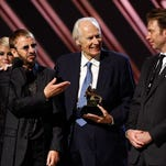 """Ringo Starr of the Beatles, Beatles producer Sir George Martin and producer Giles Martin accept the Best Compilation Sountrack Album award for """"Love"""" onstage during the 50th annual Grammy awards held at the Staples Center on February 10, 2008 in Los Angeles, California."""