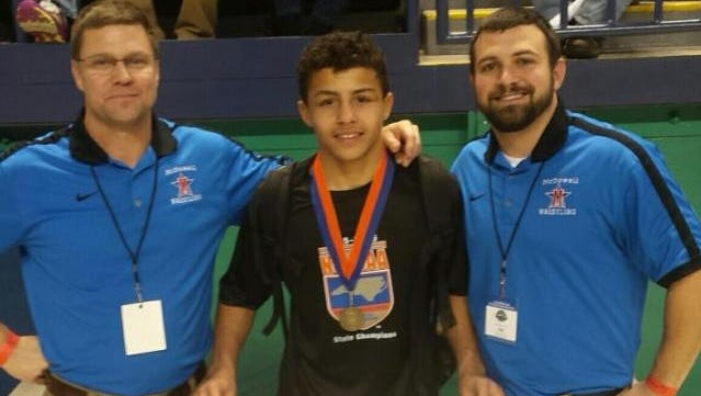 Toney McGee became the youngest state champion in the history of McDowell wrestling last February.