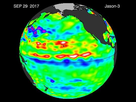 This recent image shows cool water along the equator.