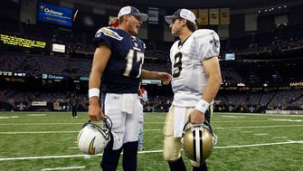 Former San Diego Chargers teammates Philip Rivers (17) and Drew Brees could soon find themselves tutoring replacements with their respective teams.