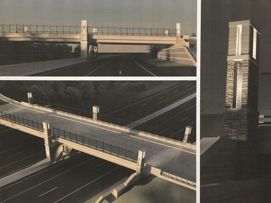 This photograph of a rendering shows architectural details of what the Eight Mile Road overpass over U.S. 23 will look like at night.