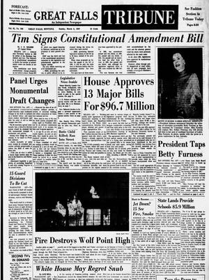 Front page of the Great Falls Tribune, Sunday, March 5, 1967