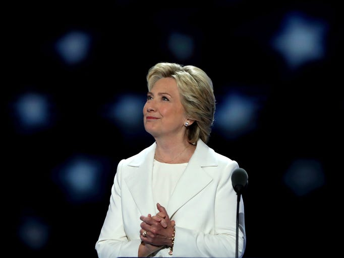 Democratic presidential nominee Hillary Clinton acknowledges