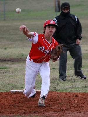 Norfork's Bryson Thiel pitches against Viola on Tuesday evening at Fireball Reynolds Ballfield.