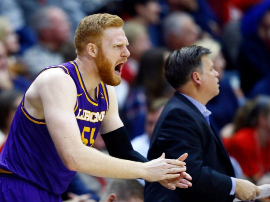 Lipscomb center George Brammeier (55) reacts to a play during their game against Belmont, Monday, Nov. 27, 2017, in Nashville, Tenn.