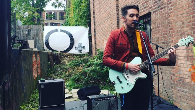 Frank McGinnis of the town of Poughkeepsie plays the Somewhere Alley during O+ Kingston in 2016.