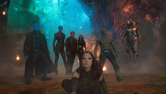 """Mantis (Pom Klementieff, foreground) is one of the minor Marvel Comics characters getting a makeover in """"Guardians of the Galaxy Vol. 2."""" Also pictured (from left): Yondu (Michael Rooker), Nebula (Karen Gillan), Star-Lord (Chris Pratt), Gamora (Zoe Saldana), Drax (Dave Bautista) and Rocket (voiced by Bradley Cooper)."""