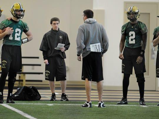 Vanderbilt quarterbacks from left, Patton Robinette,