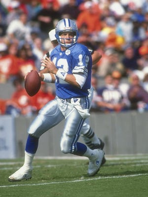 Erik Kramer is pictured in 1991 with the Lions.