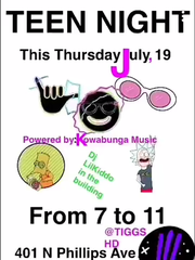 An advertisement for Teen Night