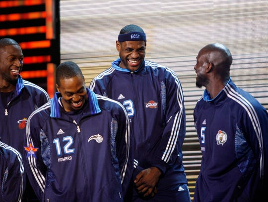 Eastern Conference All-Stars (from left) Dwayne Wade,