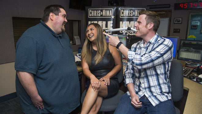 """""""We're best friends on the air and best friends off the air,"""" Badger Gabe (left) says of co-workers Nina Espero and Chris Matthews. The three form the morning show on KMLE-FM (107.9)."""
