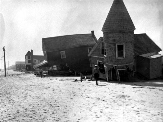 This photo shows damage on Long Beach Island after