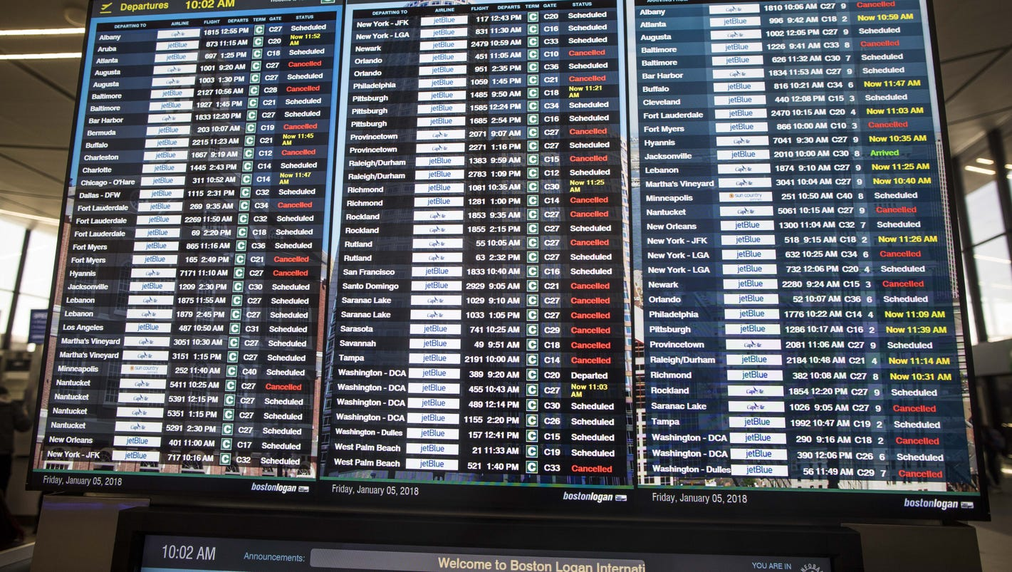 Tuesday: Most Boston flights grounded, 1,400+ cancellations nationwide