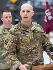 Major Jamie Lewandowski of the Vermont Army National Guard and commander of Charlie Company, a helicopter-borne air ambulance unit, speaks during a news conference in South Burlington on Friday May 4, 2018, to announce that the company's more than 60 soldiers will deploy to Southwest Asia in June.