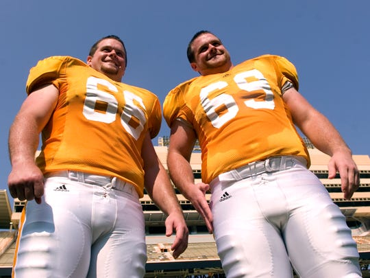 Brothers Cody, left, and Cory Sullins are all smiles during media day on Sunday, Aug. 9, 2009 at Neyland Stadium.