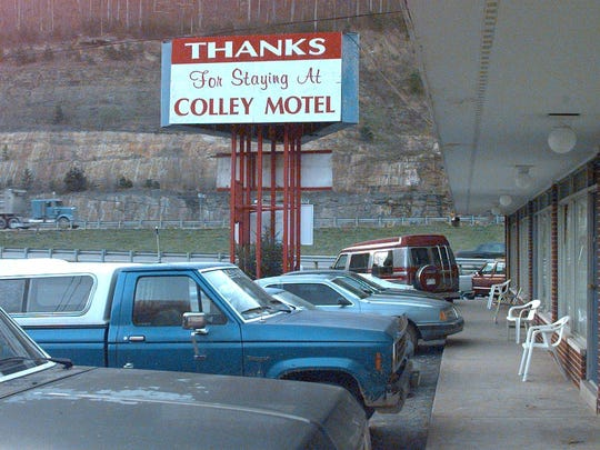 File photo: Photo looking from Room #7 of the Colley Motel at U.S. Highway 23, the route the group took to Tennessee two days after a party here in 1997.