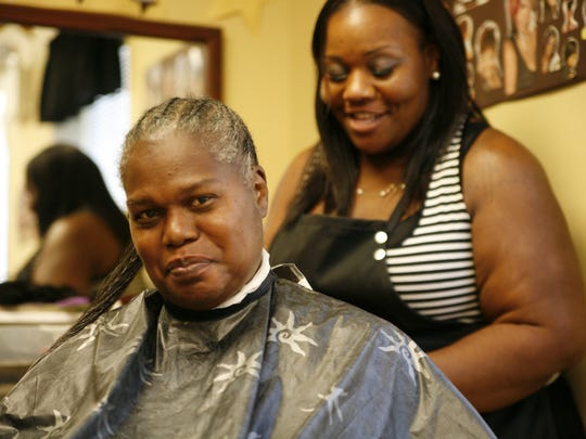 """Rachel """"Hollywood"""" Carr, right, will visit Rochester as a special guest during the Reel Mind series. The photo is from filmmaker Glenn Holsten's documentary, """"Hollywood Beauty Salon,"""" about a beauty parlor inside a nonprofit mental health facility in Philadelphia."""