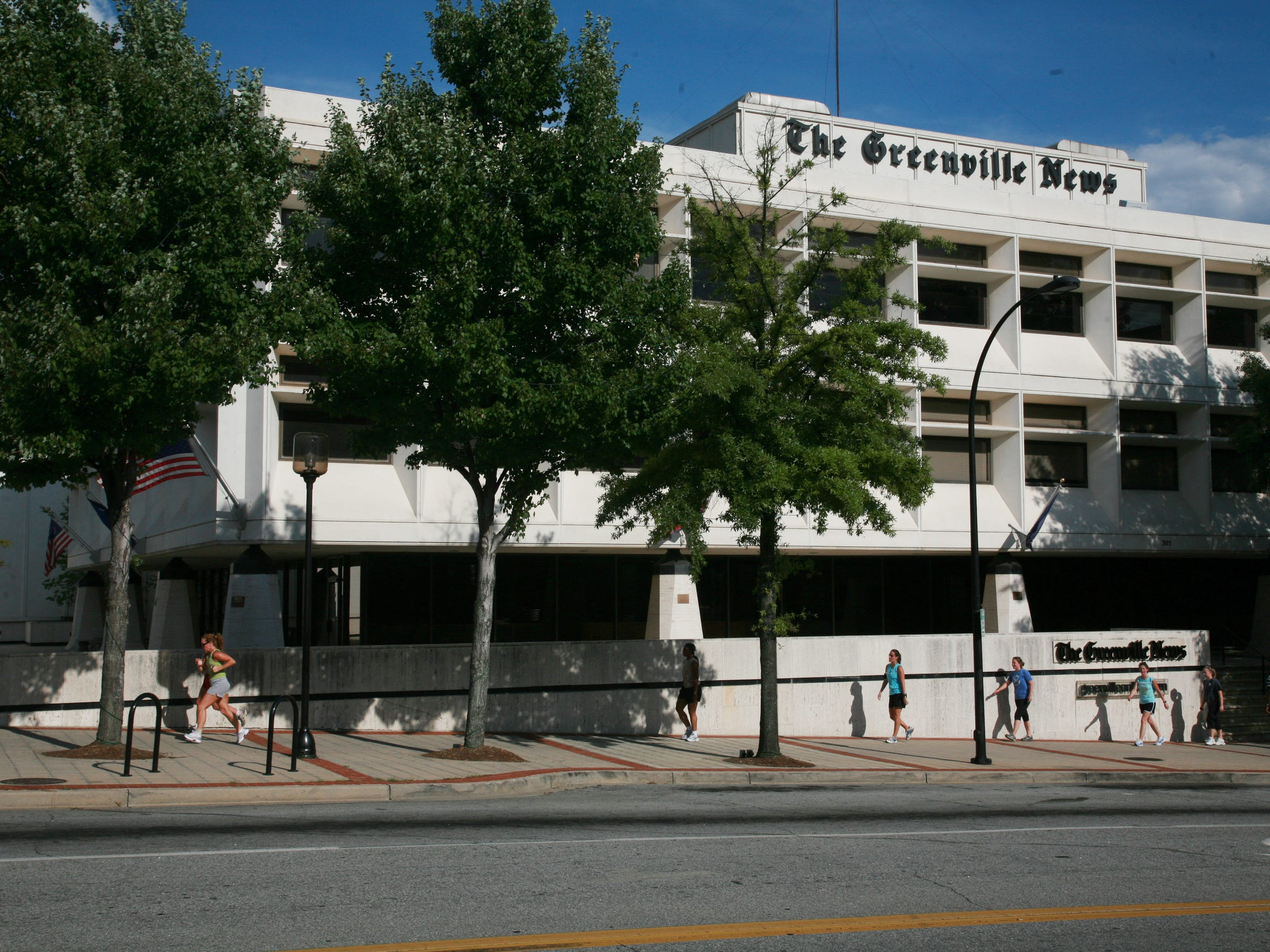 The Greenville News building in downtown Greenville.