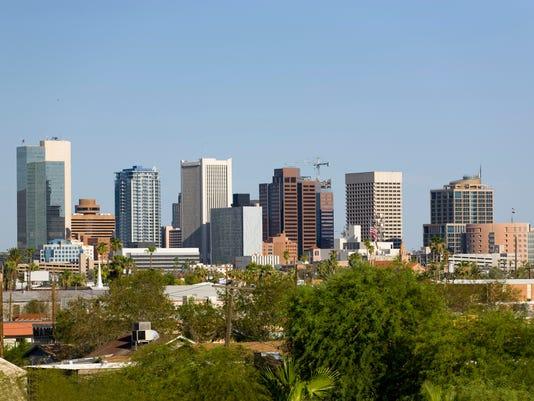 Skyline at the city of Phoenix Downtown, AZ