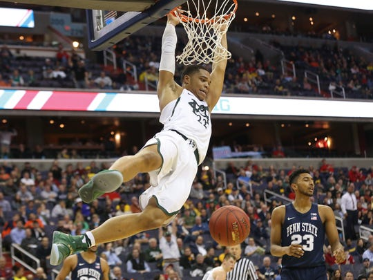 MSU's Miles Bridges averaged 17.5 points and 8 rebounds during the Big Ten tournament, not far from his season averages.