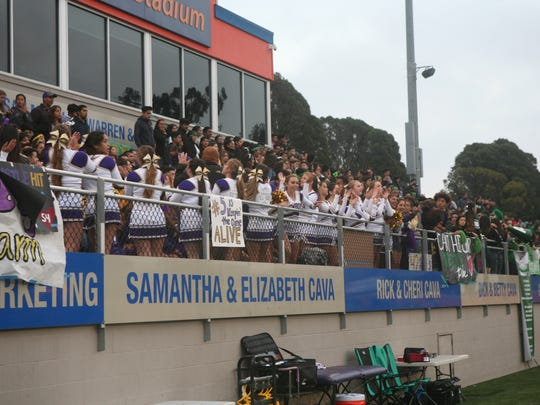The Salinas Cowboys' student section is getting loud during the jamboree.
